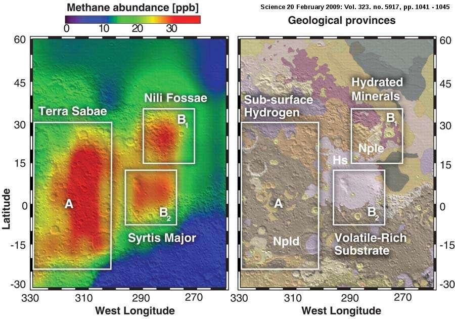 À gauche, il s'agit d'une carte des teneurs en méthane superposée à une carte topographique. À droite, on peut voir une carte géologique (Greeley et Guest, 1987) avec la localisation des trois panaches et le report des caractéristiques chimiques déterminées par Mars Odyssey et MRO vis-à-vis des composés volatils. Npld et Nple indiquent un âge noachien pour les terrains (> 3,6 Ga, milliards d'années). Le volcan Syrtis major est d'âge hespérien (Hs, âge compris entre 3,1 et 3,6 Ga). © Pierre Thomas-Mumma et al., 2009, Science