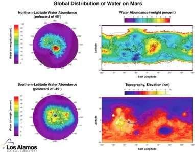 Cartes de la répartition des réserves d'eau sur Mars. Pôles, planisphère et topographie (Los Alamos)