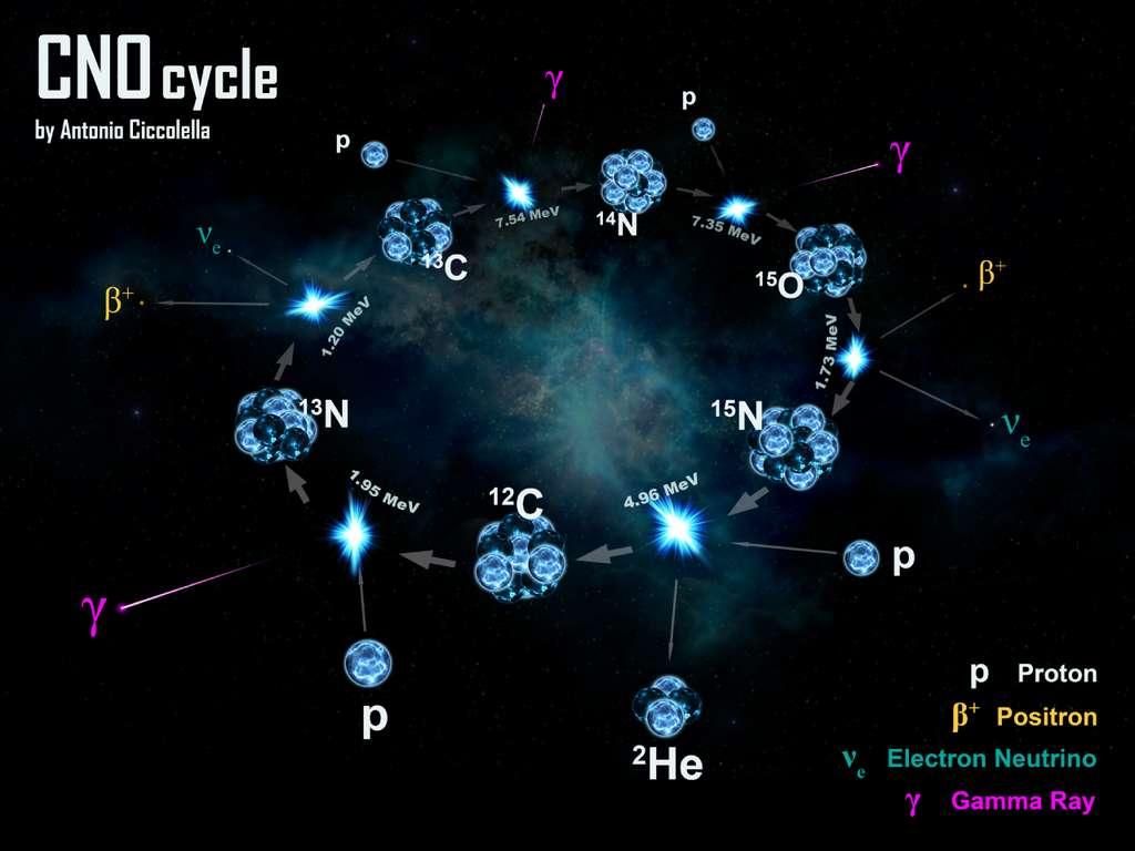 Un présentation du cycle CNO, un cycle thermochimique en physique nucléaire qui produit de l'énergie avec des noyaux. Voir les explications dans la vidéo-ci-dessus. © Antonio Ciccolella, CC by-sa 4.0