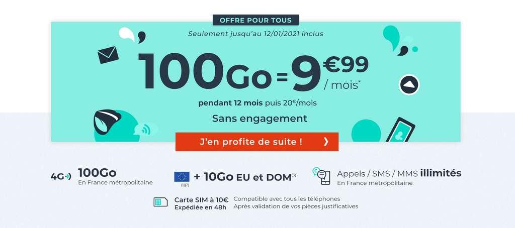 Le forfait 100Go à prix cassé © Cdiscount Mobile