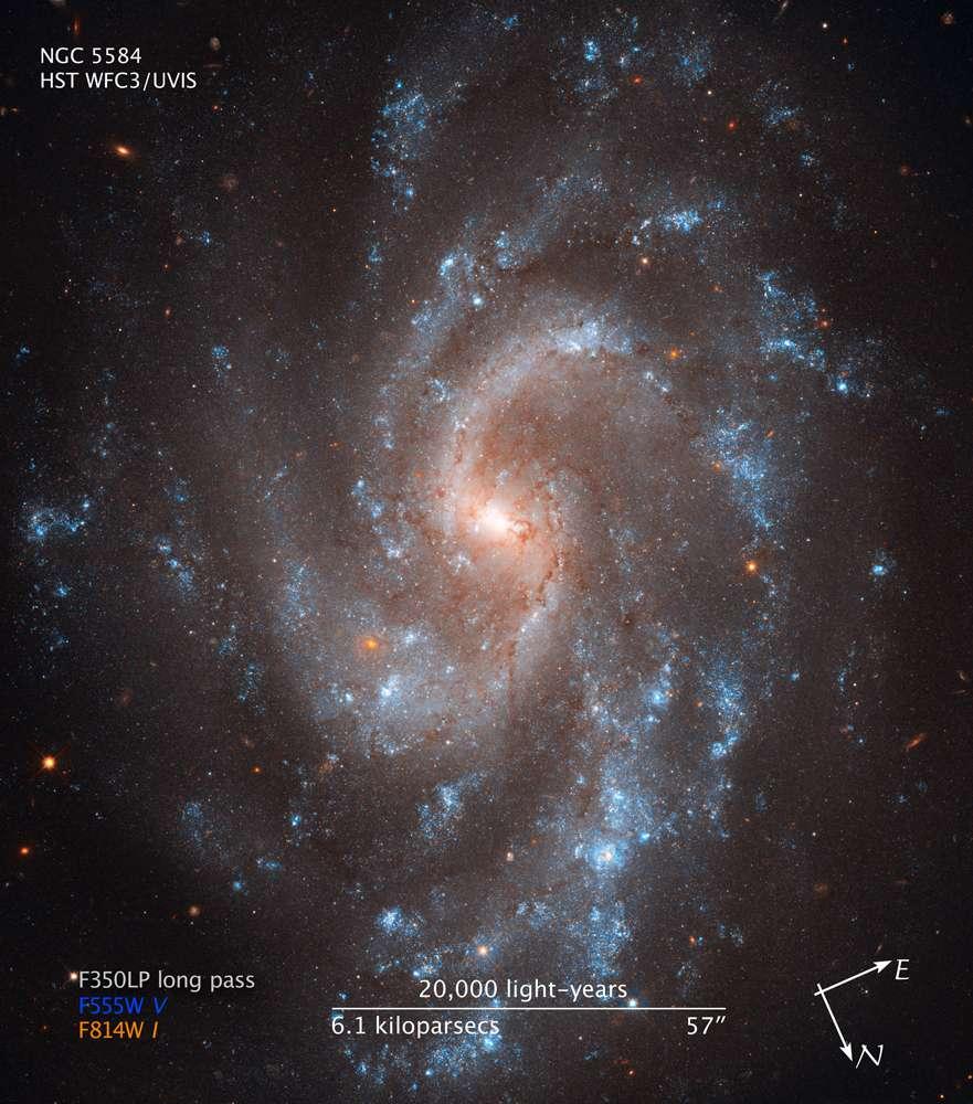 La galaxie spirale NGC 5584 se trouve à 72 millions d'années-lumière dans la constellation de la Vierge. © Esa-Nasa