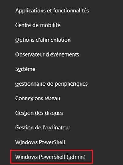 Cliquez sur « Windows PowerShell (admin) » dans le menu Liens Rapides. © Microsoft