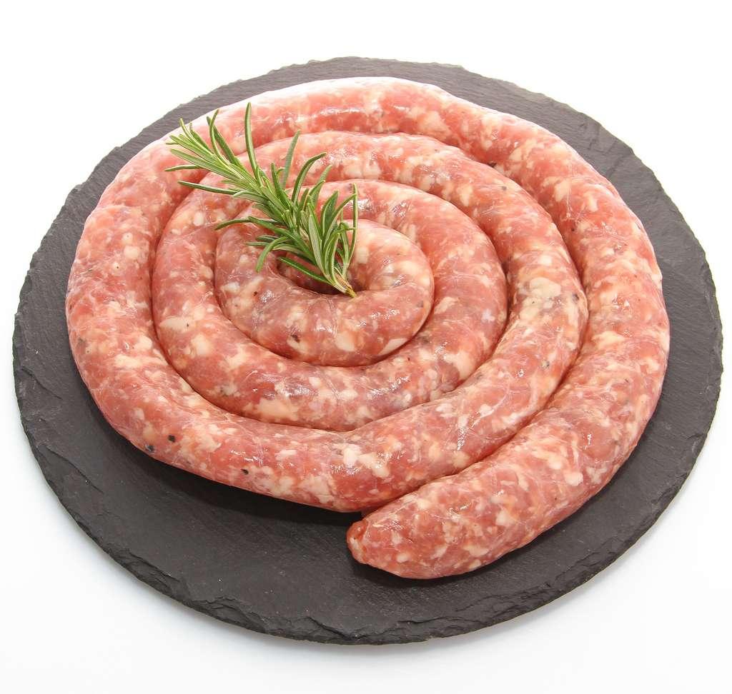 La véritable saucisse de Toulouse se présente sous forme de spirale. Elle est vendue au poids. © Illustrez-vous, Fotolia