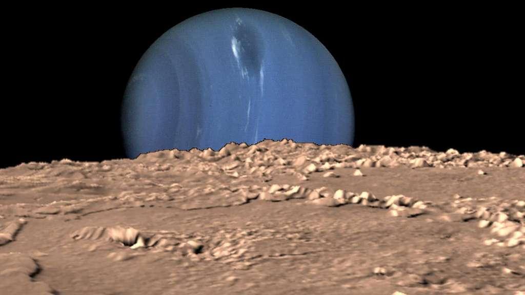 Neptune, vue depuis Triton. © Nasa