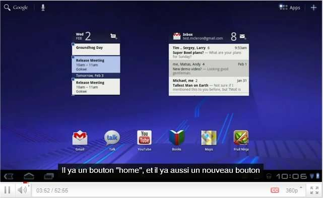 La présentation de Honeycomb (Android 3.0) sur la chaîne YouTube dédiée à Android. On remarque une bonne utilisation de l'écran (qui peut être multitouche), les widgets et la gestion apparemment pratique du multitâche. © Google