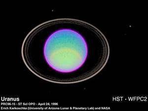 Les anneaux d'Uranus, planète découverte en 1781 par William Herschel. Crédit Nasa/E. Karkoschka