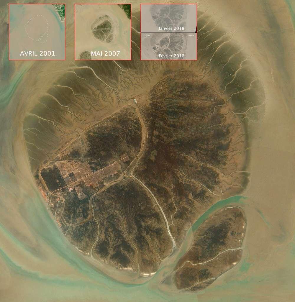 Situé sur une île isolée de la baie du Bengale, qui s'est formée naturellement dès la fin des années 90 et le début des années 2000, un camp insulaire construit pour abriter et accueillir quelque 100.000 Rohingyas. © 2018 Planet Labs, Inc.