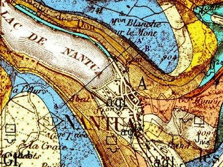 Carte géologique de Nantua. © Ministère de l'Industrie, 1964