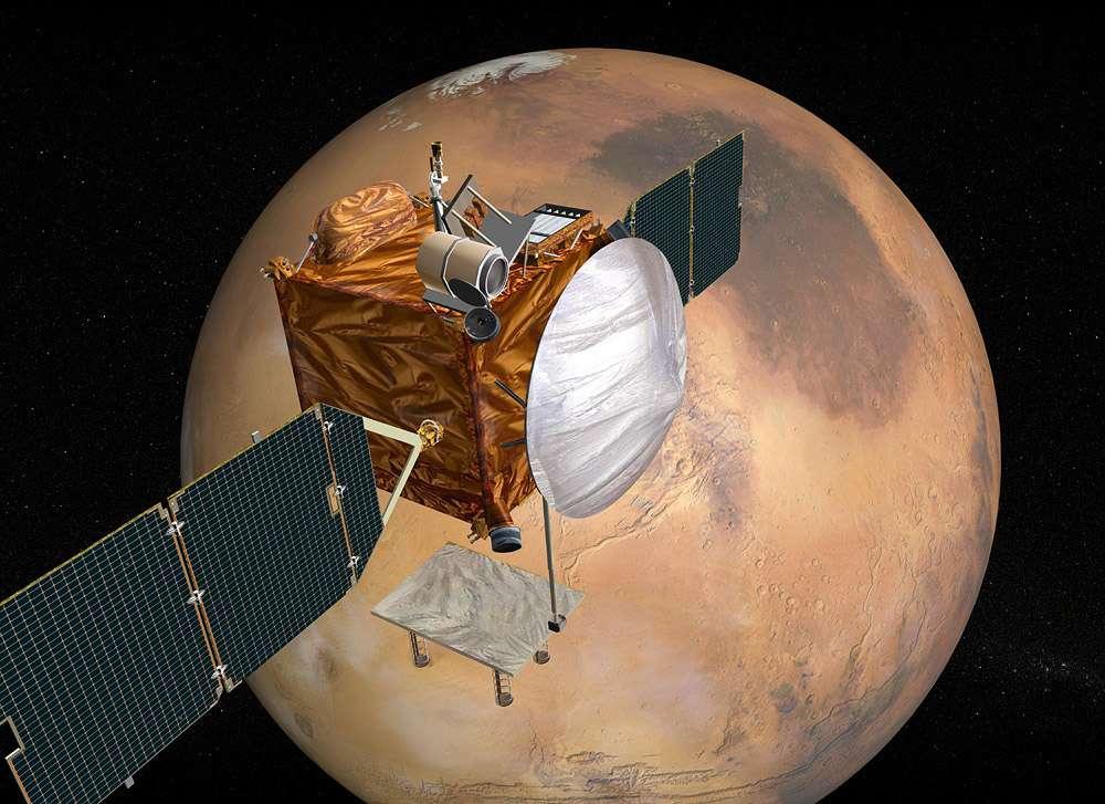 Le satellite martien de télécommunications (MTO), que la Nasa avait été contrainte d'annuler en 2005 faute de budget et qu'elle prévoyait de lancer en 2009, pourrait bien renaître. C'est du moins une des hypothèses de travail pour l'orbiteur qu'elle prévoit de lancer en 2022. © Nasa
