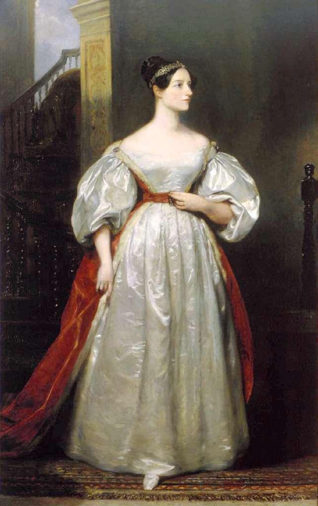 Lady Ada Augusta Lovelace Byron, mathématicienne, est souvent considérée comme le premier (la première) de tou(te)s les programmeur(euse)s, pour avoir réalisé, dans les années 1840, un algorithme destiné à la Machine analytique du Britannique Charles Babbage, sorte d'ordinateur mécanique. © Domaine public