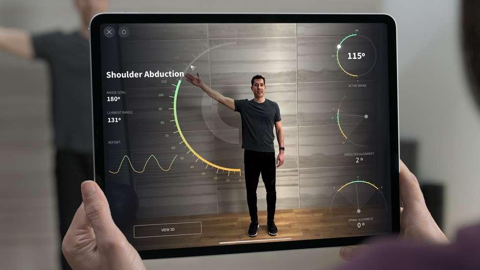 Présent sur l'iPad Pro, le Lidar permet de mesurer instantanément la taille d'une personne. © Apple