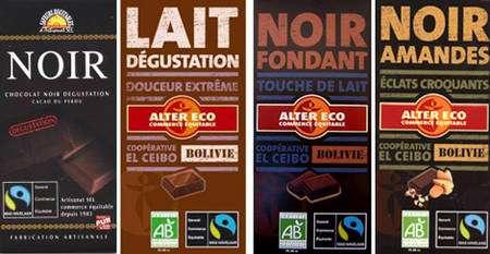 On trouve aujourd'hui en tablette du chocolat noir, au lait, aux amandes... et provenant du commerce équitable. © DR