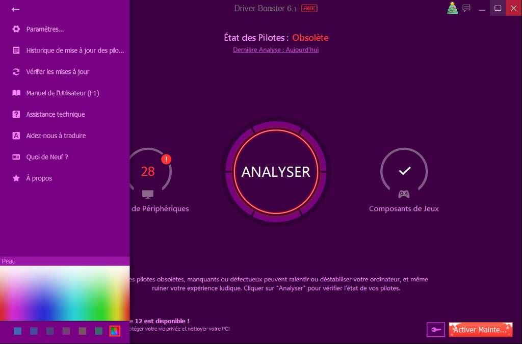 L'option Peau permet de personnaliser la couleur de l'interface. © Iobit
