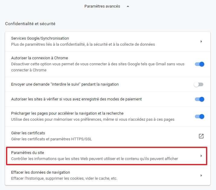 Cliquez sur « Paramètres du site ». © Google Inc.