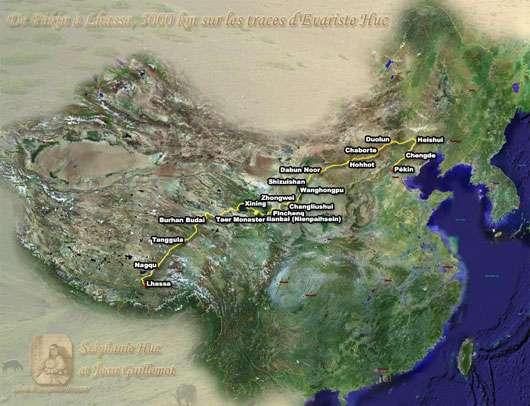 Reconstitution du parcours d'Évariste Huc. Plus facile en vue satellitaire que sur le terrain… © DR