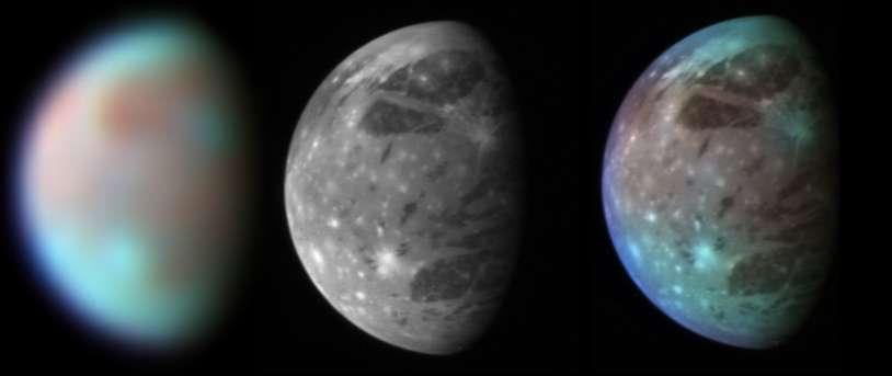 Ganymède vue à 3,7 millions de kilomètres par le spectromètre Ralph/Leisa, à gauche, et par le télescope Lorri, au milieu. À droite, addition des deux images. © Nasa