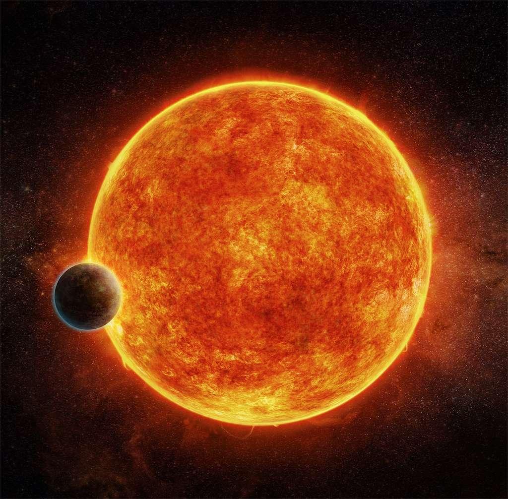 L'âge de LHS1140b a été estimé à cinq milliards d'années et son diamètre est évalué à 1,4 fois celui de la Terre, soit près de 18.000 kilomètres. Avec une masse environ sept fois supérieure à celle de la Terre et une densité plus élevée, l'exoplanète est certainement constituée de roches et dotée d'un noyau de fer particulièrement dense. © C. Weiss, CFA