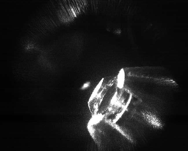 Les atomes refroidis par laser et observés à l'aide d'une caméra montée sur microscope. © Université d'Otago