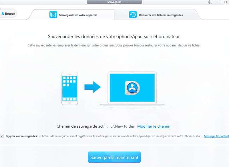 Sauvegarder et restaurer sans perdre de données. © DearMob iPhone Manager