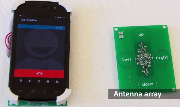 Pour capter le signal GSM émis par le smartphone, SideSwipe utilise quatre antennes. Un algorithme se charge de convertir le signal en une onde continue qui sert de base au système de détection des gestes. © Université de Washington