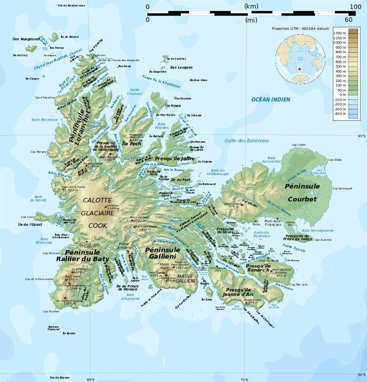 Carte topographique des îles Kerguelen. © Rémi Kaupp, Wikimedia commons, CC 4.0 international