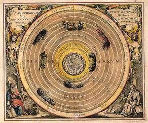 La vision géocentrique de Ptolémée représentée par A. Cellarius dans son Harmonia macrocosmica, 1705. Crédits : BnF