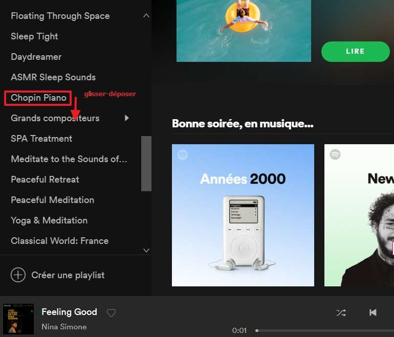 Déplacez vos playlists existantes grâce à un simple glisser-déposer. © Spotify AB