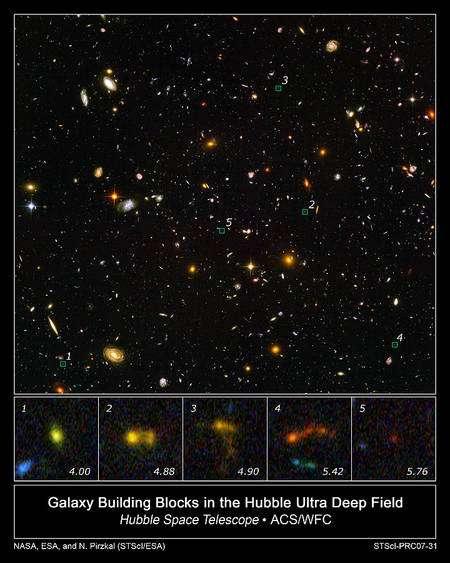 """Cliquez pour agrandir Les 5 images extraites du """"Champ Ultra Profond de Hubble (HUDF)"""" de Hubble montrent des galaxies de plus en plus lointaines et primitives avec un redshift de plus en plus élevé (Z=4 à Z=5,76)."""