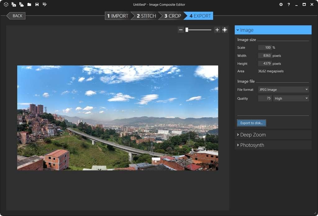 Écran d'exportation du panorama. © Image Composite Editor