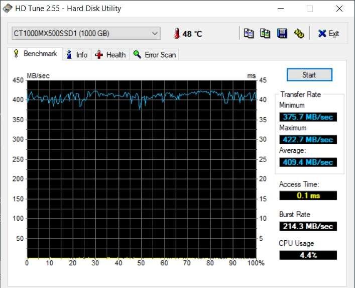 Test de la vitesse de lecture d'un disque SSD SATA II © EFD Software
