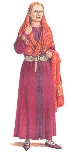 Fig. 6 - Reconstitution du costume d'Arégonde selon les dernières recherches. © Florent Vincent