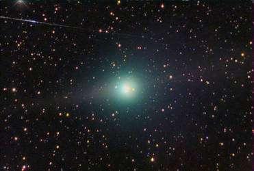 Lulin le 23 janvier 2009 photographiée (en deux poses) par R. Ligustri à Talmassons (région du Frioul-Vénétie julienne, au nord-est de l'Italie) avec un télescope de 350 mm muni d'une caméra CCD. (Cliquer sur l'image pour l'agrandir.) © R. Ligustri