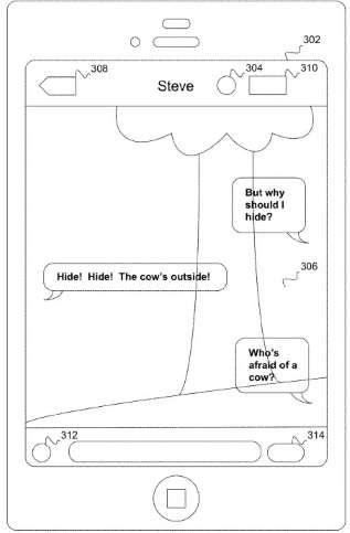 Dans sa demande de brevet déposée aux États-Unis, Apple décrit le fonctionnement de système de « SMS transparent ». En appuyant sur un bouton situé dans l'interface de l'application, l'utilisateur pourrait activer la caméra arrière de son iPhone pour voir en arrière-plan ce qui se passe devant alors qu'il marche tout en rédigeant son texte. © Apple