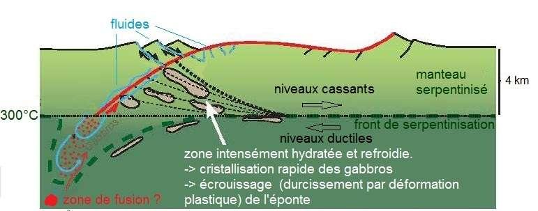 Mécanisme d'exhumation de manteau serpentinisé le long d'une faille de détachement (en rouge). © Morgane Gillard, modifié par la plateforme EduTerre