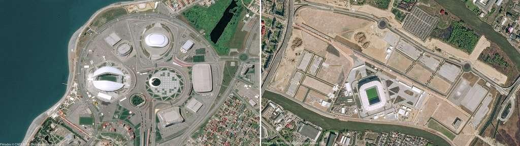 À gauche, le stade Ficht de Sotchi qui a accueilli les J.O. d'hiver de 2014. À droite, le stade Baltika de Kaliningrad construit en 2015. © Pléiades, Cnes 2018, Distribution Airbus DS