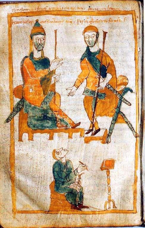 Cette copie de l'une des rares représentations d'époque de Charlemagne (en haut à gauche) le montre avec l'un de ses fils, Pépin le Bossu (en haut à droite). © DR