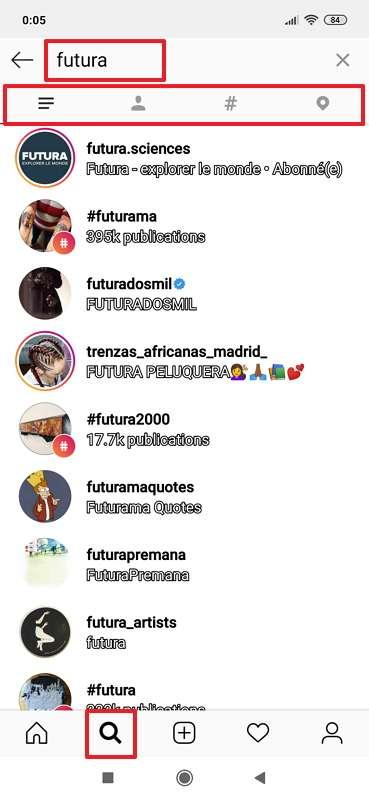 Instagram dispose d'un outil simple et efficace pour les recherches. © Instagram