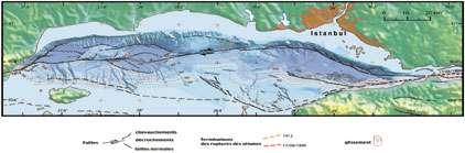Carte bathymétrique et structurale © Données IFREMER. Figure réalisée au CNRS-IPG Paris, Laboratoire de tectonique-UMR 7578.