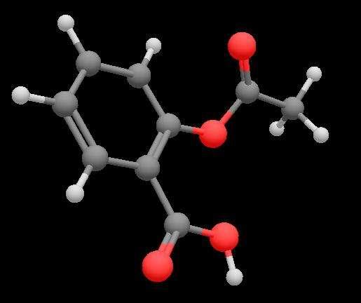 L'aspirine est une molécule qui inhibe les enzymes COX et qui empêche ainsi la synthèse de prostaglandines. © Frederic.marbach, Wikimedia, CC by 1.0