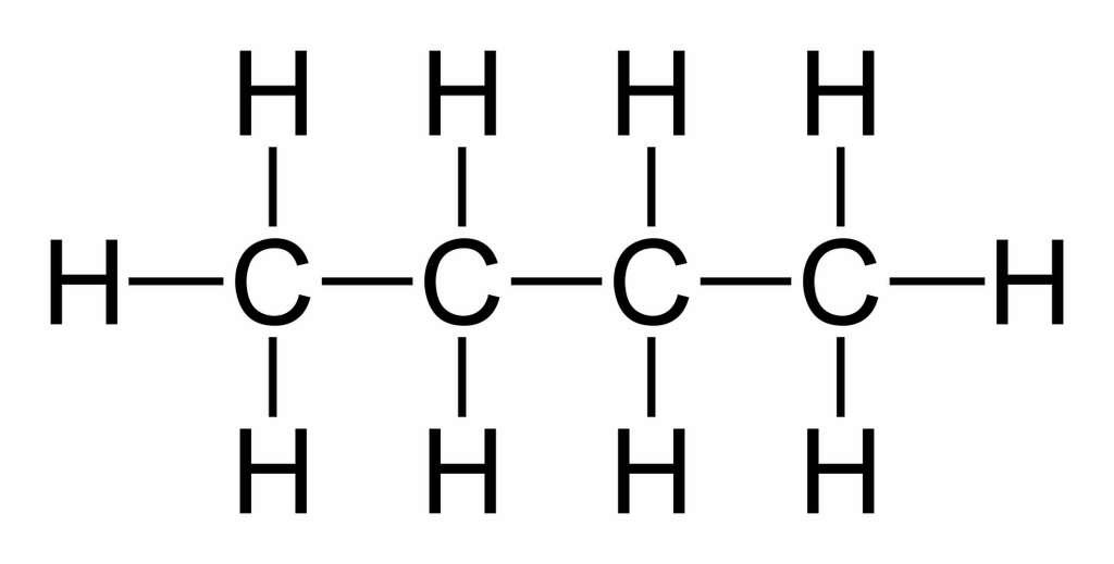 Formule développée du butane. © Wikipedia, Domaine public