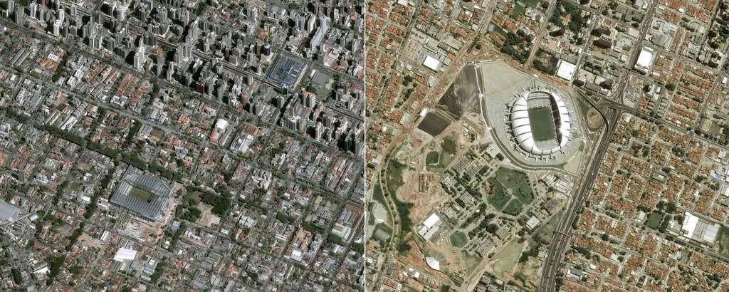 Les stades de Curitiba (Arena da Baixada) et de la ville de Natal (Arena das Dunas). @ Cnes 2014/Distribution Astrium Services/Spot Image S.A.
