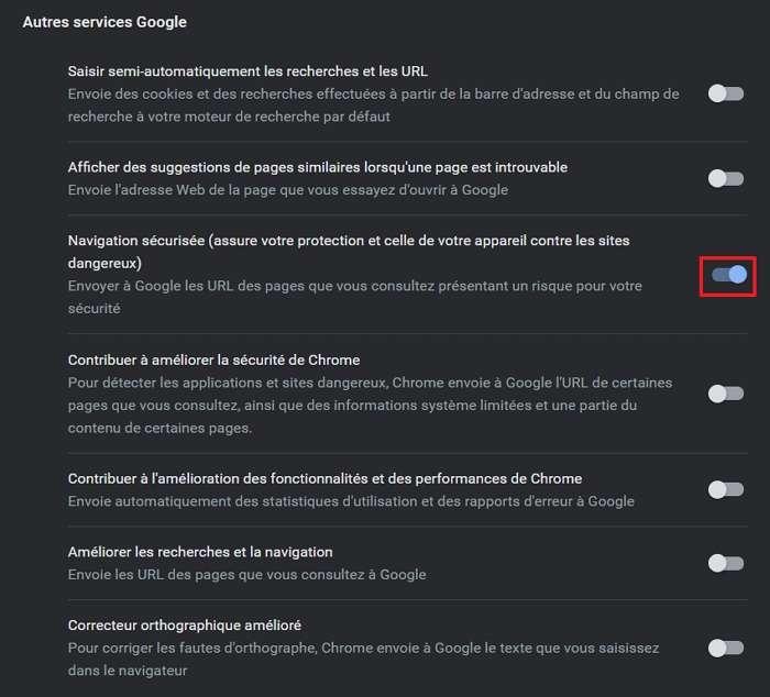 Chrome vérifie que les pages que vous consultez sont sûres. © Google Inc.