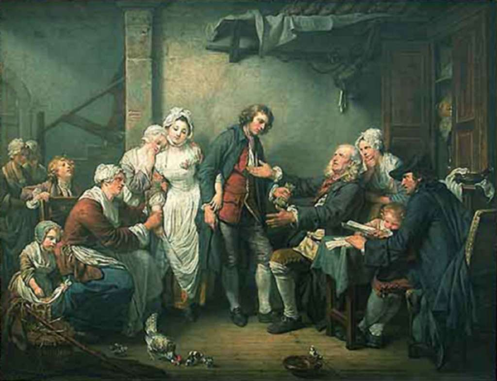 Tableau de Jean-Baptiste Greuze peint en 1761 : L'accordée du village. Représentation de fiançailles, discussions portant sur la dot de la future mariée entre deux familles de paysans aisés. © Musée du Louvre