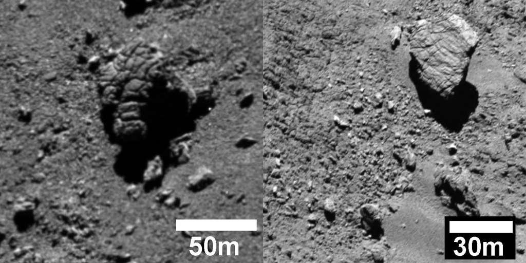 De grands rochers fissurés et en cours de fragmentation. La photo de gauche en montre un d'environ 60 m de large, situé dans la région d'Imhotep. Celui de droite, dans la région d'Atum, est à un stade moins avancé. © Esa, Rosetta, MPS for OSIRIS Team MPS, UPD, LAM, IAA, SSO, INTA, UPM, DASP, IDA