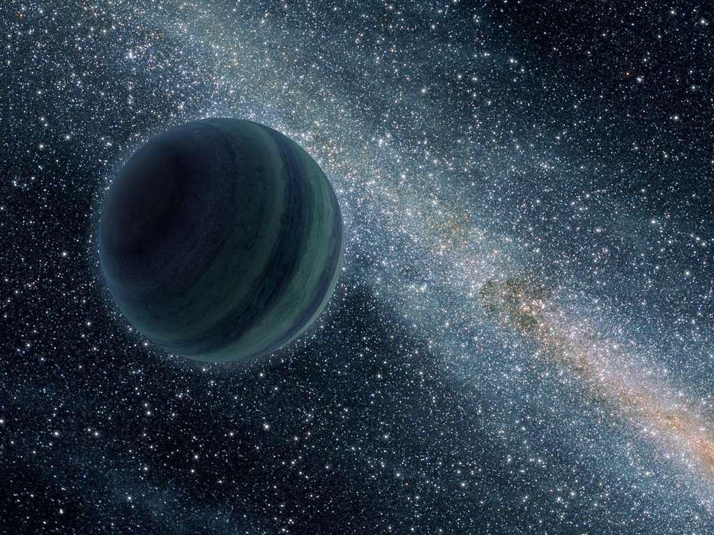 Une vue d'artiste du passage d'une exoplanète gazeuse éjectée de son lieu de formation et errant dans la Voie lactée. © Nasa/JPL-Caltech