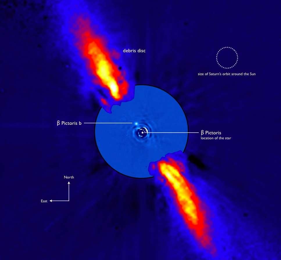 On voit sur cette photo composite, prise dans l'infrarouge proche, le système de Bêta Pictoris. Le disque de débris est bien visible ainsi que l'exoplanète Bêta Pictoris b. En haut à droite, se trouve la comparaison avec la taille de l'orbite de Saturne. © ESO/A-M. Lagrange et al.