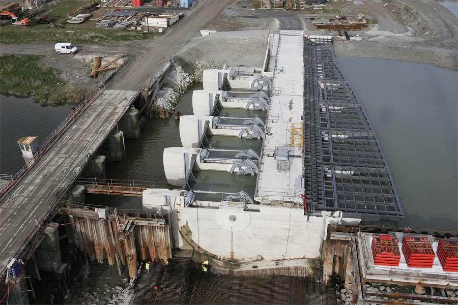 Vannes secteurs pendant la construction du barrage du Couesnon