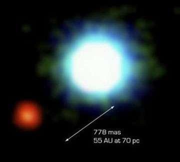 Figure 4 : première image d'une planète extrasolaire (en rouge) en orbite autour d'une étoile naine brune (en bleu). Image composite obtenue à partir d'observations directes faites par le VLT, au Chili. © ESO