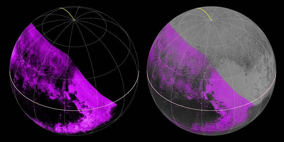 En violet, distribution du méthane à la surface de Pluton. Les images ont été réalisées avec le spectromètre infrarouge Ralph/Leisa de New Horizons et combinées (à droite) avec celles de Lorri. La bande sombre, nommée Cthulhu Regio, sur l'équateur de la planète naine, n'affiche pratiquement aucune trace de méthane. En revanche, il est abondant dans la plaine Spoutnik. La distribution est plus hétérogène dans le reste de la portion de l'hémisphère nord observée. © Nasa, JHUAPL, SwRI