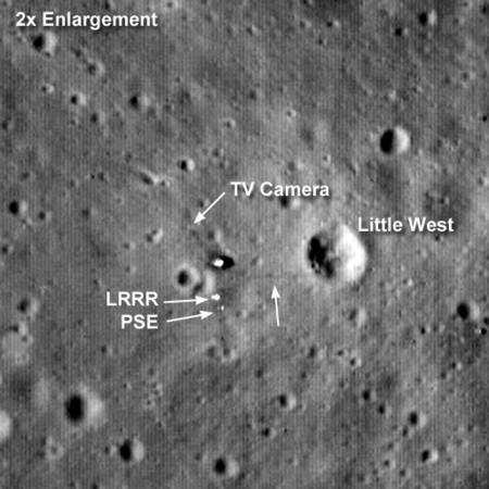 Un zoom sur la région où se trouve le module lunaire d'Apollo 11. Crédit : NASA/Goddard Space Flight Center/Arizona State University